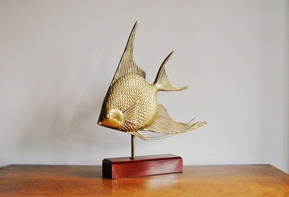 Brass Angel Fish on Wood Stand, Mid Century Brass Statue, Brass Desk Accessory, Nautical Coastal Beach Tropical Home Accent, Gift for Him
