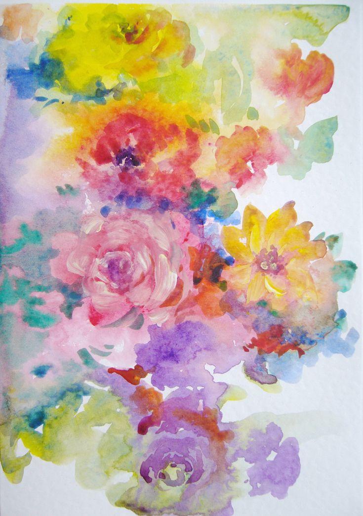 Flowers- watercolor, March greeting card, 21/15 cm, 2016, Derecichei Simona Mihaela