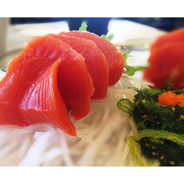 """TROVER EXAMPLE - Discovered by Julia, """"Sockeye sashimi. SO GOOD. So fresh. So cheap! Friends got maki, and spent under $10 for 16 pieces. I went for the slightly pricier sashimi, and man am I glad I did."""" at Momo Sushi, Vancouver, BC"""