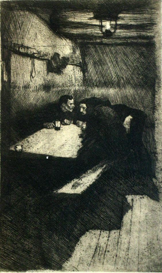 Deep shadows and a strong light source, by Kathe Kollwitz. Conspiracy: