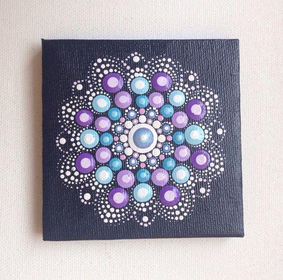 Originele kleine Pastel Mandala schilderij op Canvas, schilderij, kantoor en thuis sieraad Henna kunst cadeau Dotilism Dotart, blauwe mandala