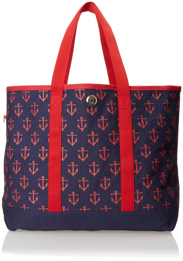 Tommy Hilfiger Canvas Anchor Print Large Shoulder Bag, Navy/Red, One Size