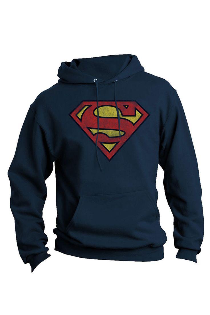 Superman Distressed Pullover Hoodie.