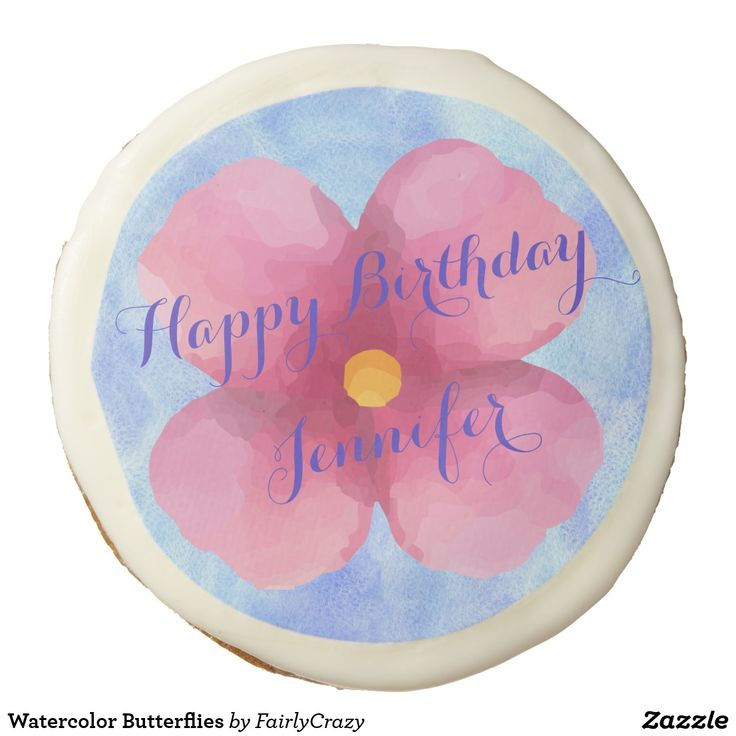 Watercolor Butterflies Birthday Party Sugarcookie - personalize the name. #yummy #partyfood #yummypartyfood #beautifulpartyfood