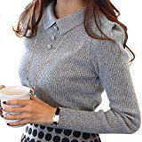 #9: (ロンショップ)R.O.N shop レディース ニット セーター リブ 編み 襟 付き ストレッチ 上品 かわいい 秋 冬 春 黒 白 グレー
