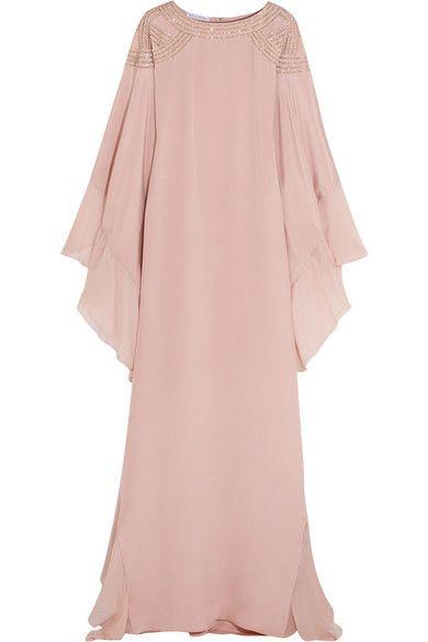 OSCAR DE LA RENTA Embellished Georgette-Trimmed Silk Crepe De Chine Gown. #oscardelarenta #cloth #dresses