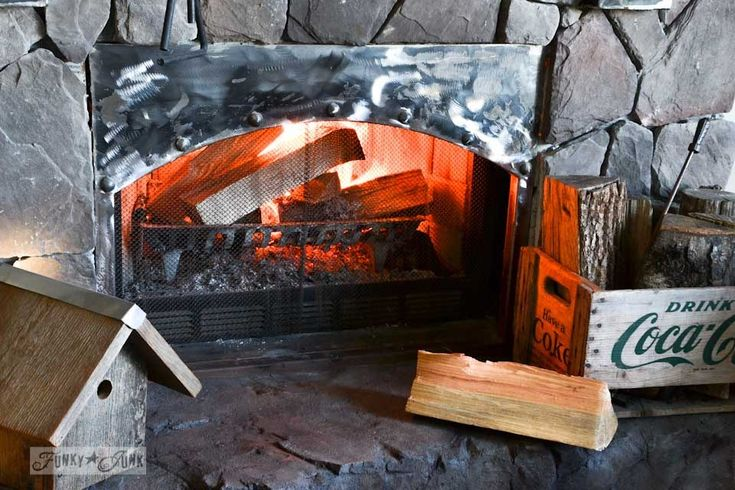 The first cozy fireplace fire of the seasonFunky Junk Interiors