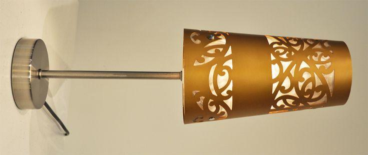 Gold Kowhaiwhai Lamp  pierced aluminium    Bruce Mckinnion