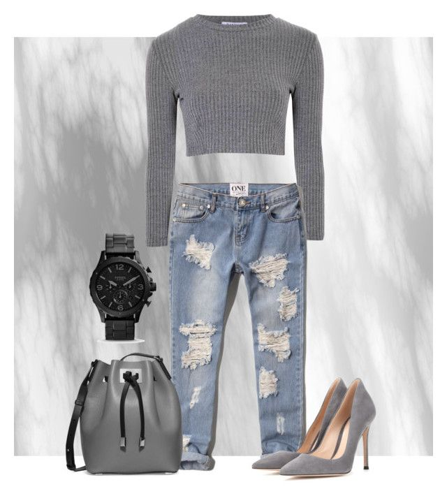 """Boyfriend jeans"" by marieck-1 on Polyvore featuring Glamorous, Abercrombie & Fitch, Gianvito Rossi and Michael Kors"