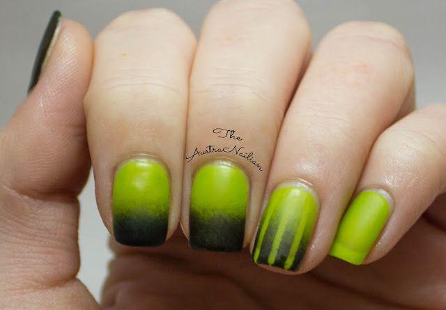 Black and green matte gradient nail art design from The AustraNailian blog.