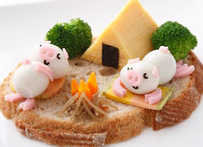 This looks too cute! Maybe the kids would actually eat this! Piglet Camping Canape
