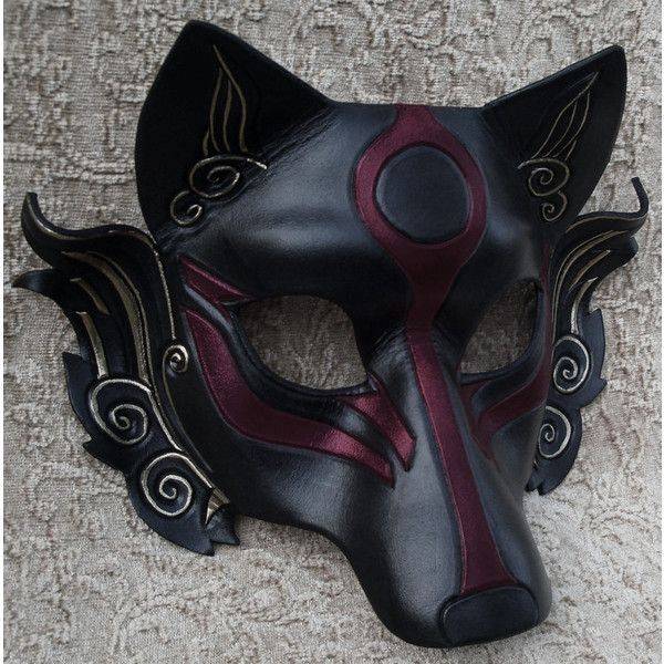 black leather wolf mask ❤ liked on Polyvore featuring masks and accessories