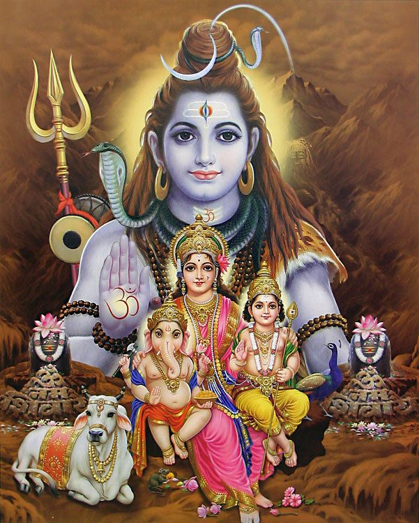 Lord Shiva with His Family (Reprint on Paper - Unframed))