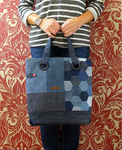 Repurposed denim (hexie) bag | by Just Jude Designs
