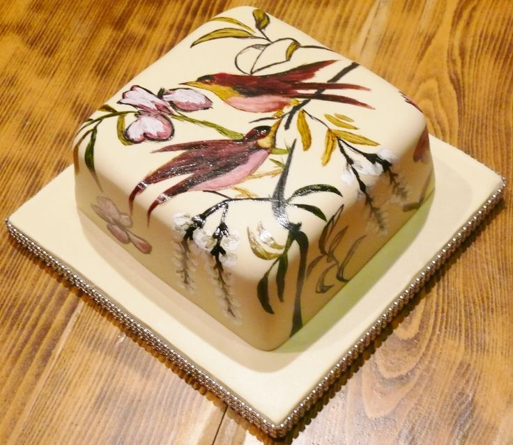 Hand Painted Cake with Birds