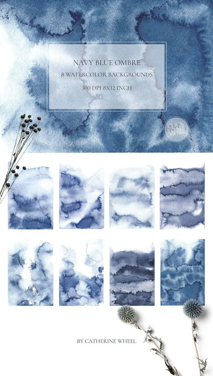 Navy Blue Ombre Texture Watercolor background