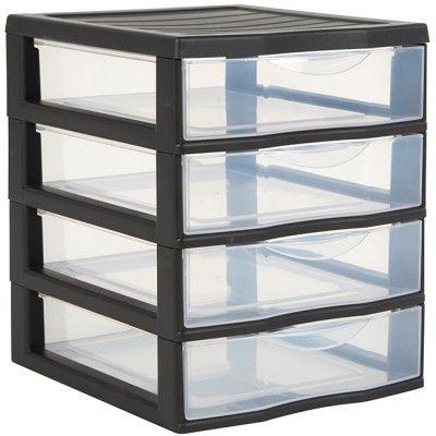 Tour de rangement plastique 4 tiroirs A6 noir, dim. 18x21xh.22,5 cm, GIFI 7€ au lieu de 9€