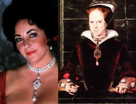 This Peregrina Pearl was a Valentine's Day gift from Richard Burton to Elizabeth Taylor. It is thought to be one of the finest examples of a pear-shaped natural pear, weighing in at 55.95 carats. The stone was once owned by Queen Mary Tudor, having been given to her by her husband Philip II.