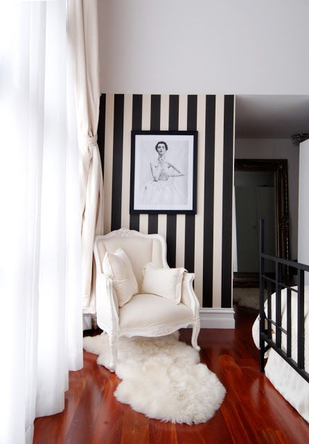 striped accent wall.