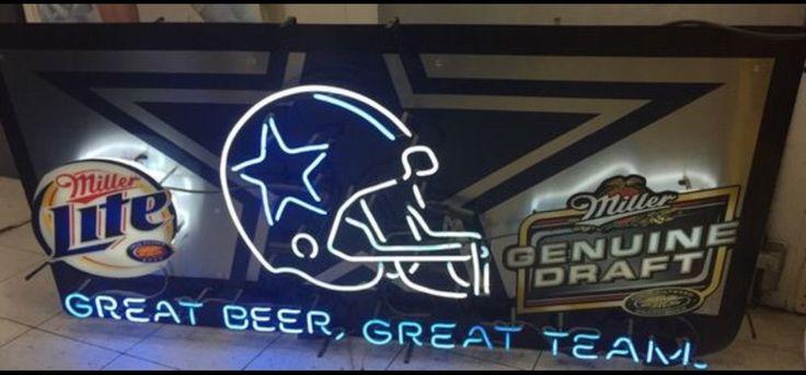 Huge Dallas Cowboys Miller Lite Neon Beer Sign NFL Football Texas Bar Man Cave