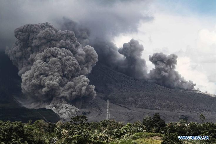 12/18/2017 - Sinabung volcano erupts in Indonesia's North Sumatra