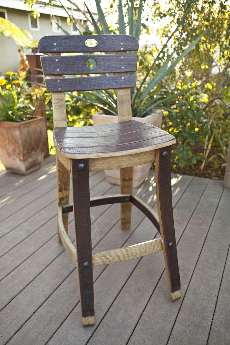 Home wine barrel furniture chairs wine barrel pinot bistro for Wine barrel chair diy