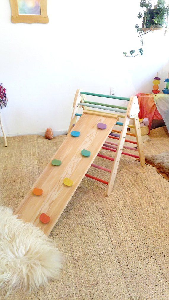 Foldable Climbing Pikler triangle and Wall Rock Board – wood slide / Climbing Structure for babies