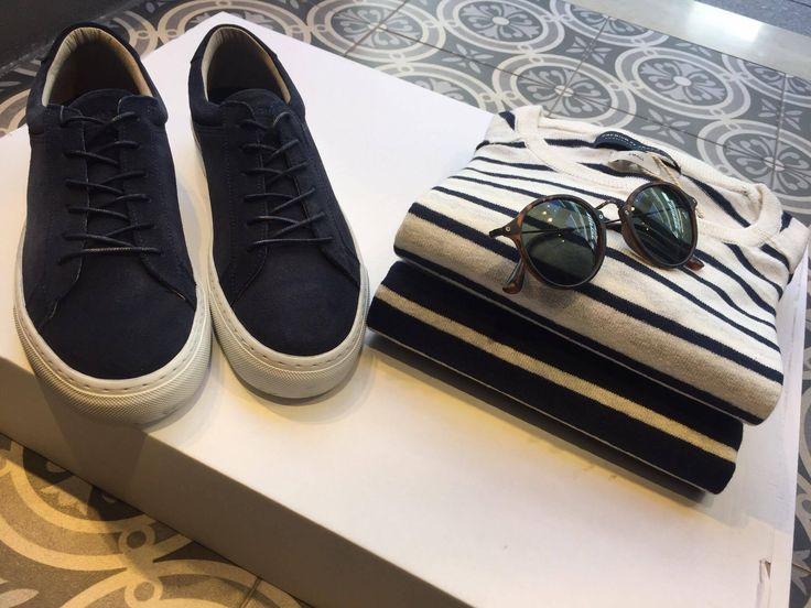 Spring stripes and leather suede sneakers!