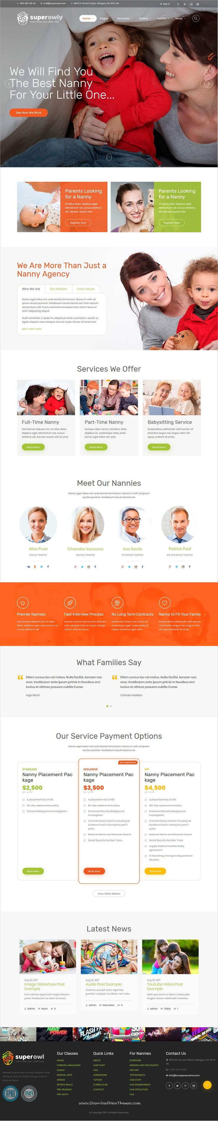 SuperOwly is clean and modern design 3in1 responsive WordPress theme for #kindergarten, #preschool, elementary school, #childcare center or #nanny agencies website to live preview & download click on Visit