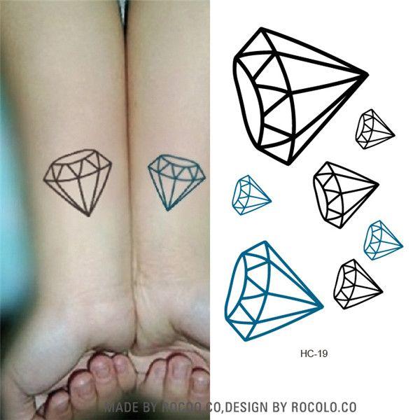 HC1019 Black And Blue Diamond Harajuku Waterproof Fake Tattoo Wholesale Men And Women Lovers Fashion Temporary Tattoo Stickers
