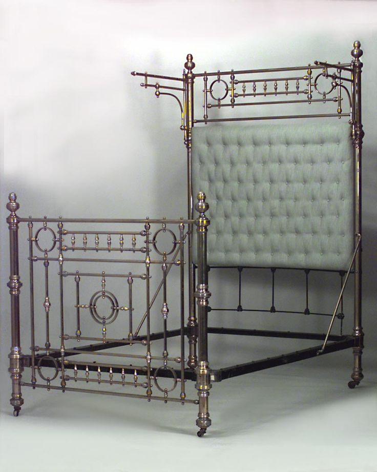American Victorian Style Brass Full Size Bed Of Open Spindle Design And Celadon Colored Button Upholstered Headboard