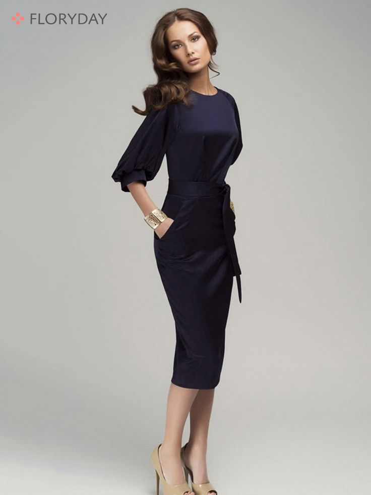 3/4 Sleeves Mid-Calf Elegant Dress Elegant and flattering, this mid-calf dress is the one if you want to make an impression at work.