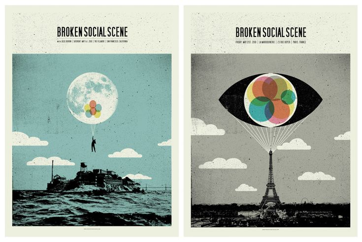 La bellezza dei poster del rock - Broken Social Scene, 1 maggio 2010, San Francisco (California) e 21 maggio 2010, Parigi