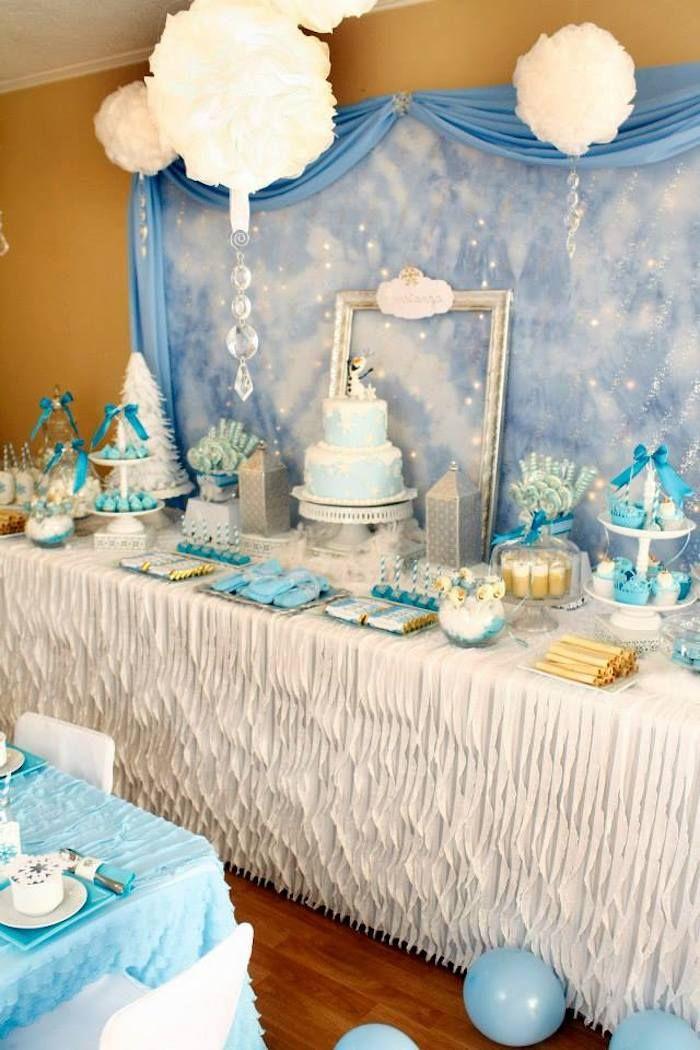 Frozen winter wonderland themed birthday party via Kara's Party Ideas