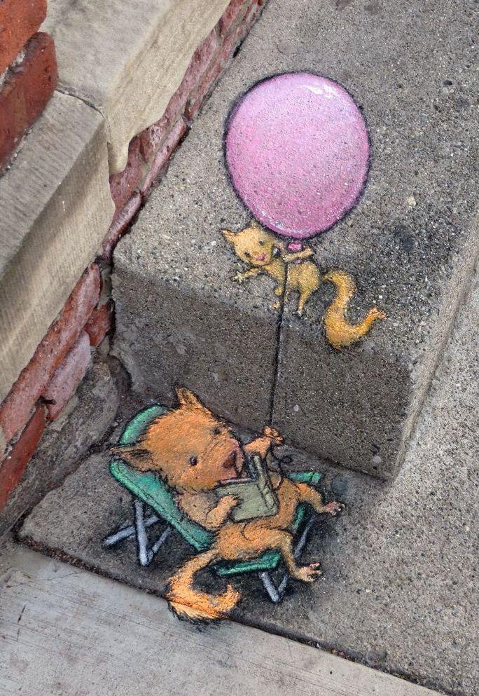 colorel11:  ©David Zinn street art-chalk &charcoal characters