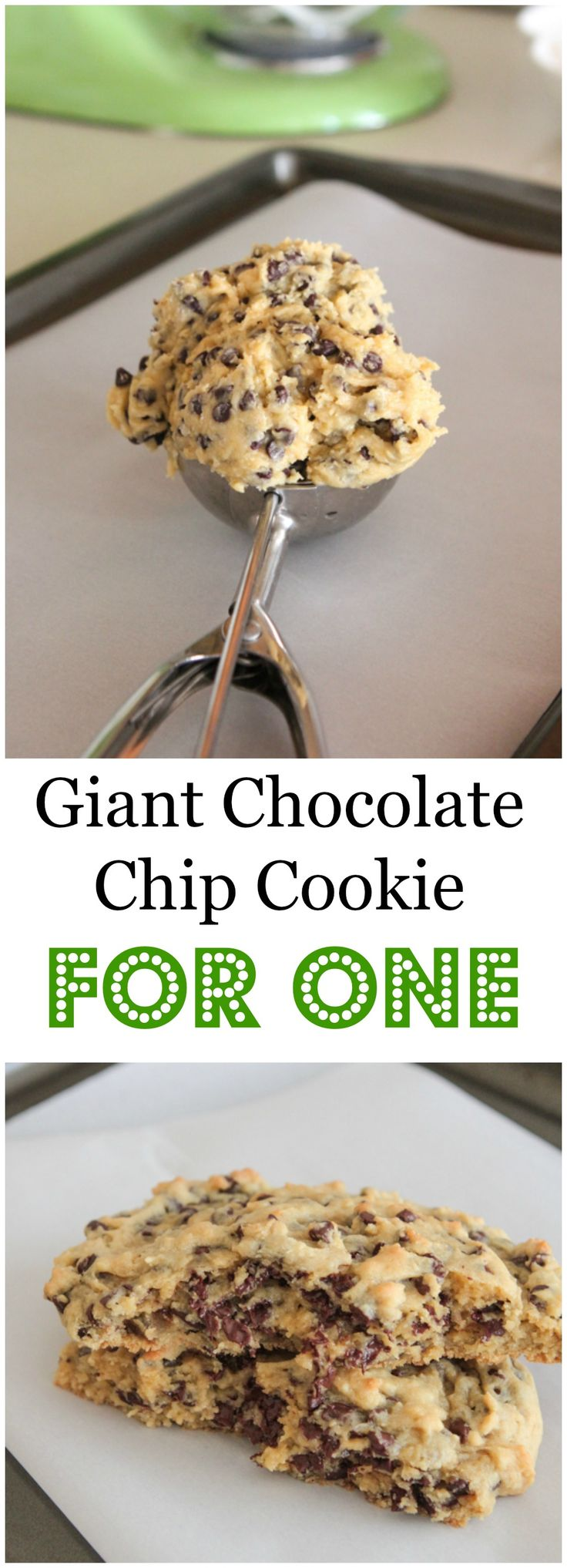 Giant Chocolate Chip Cookie Recipe For One! Whip up a delicious butter crisp yet soft centered chocolate chip cookie all for yourself :) #cookie #recipe #chocolatechip