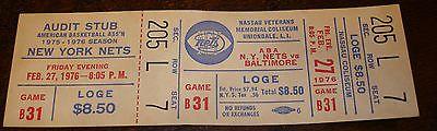 Vintage 1976 New York Nets v Baltimore ABA Unused Ticket Nassau Coliseum
