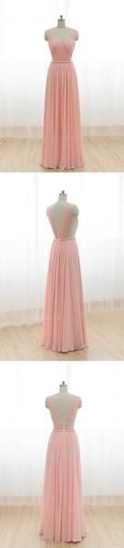Cheap Junior Long Chiffon Pink Off Shoulder Sweet Heart Open Back Bridesmaid…