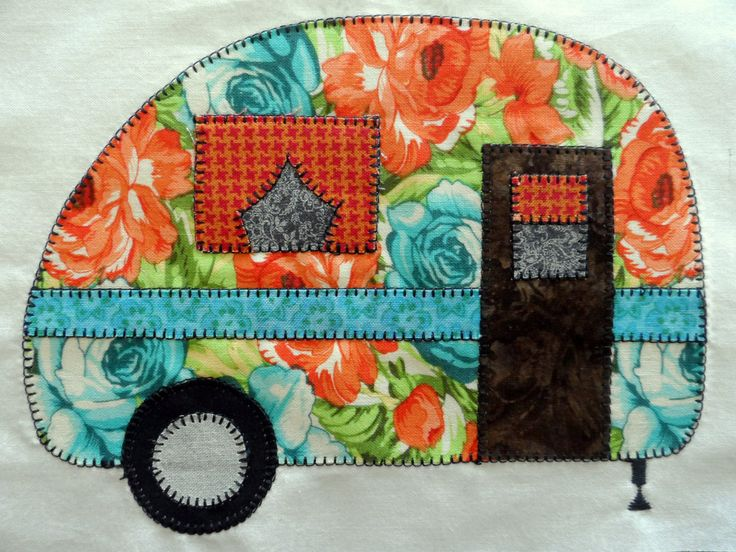 Vintage camper APPLIQUE PATTERN, instant download, retro travel trailer raw edge applique pattern, applique templates,  digital PDF file by SusansPassion on Etsy