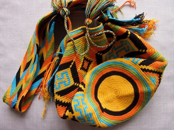 Large Colombian Handmade African Sunset $80.00 #Colombia. Pick up your #Wayuumochilabag and get #FreeShipping! #Sale on #Etsy