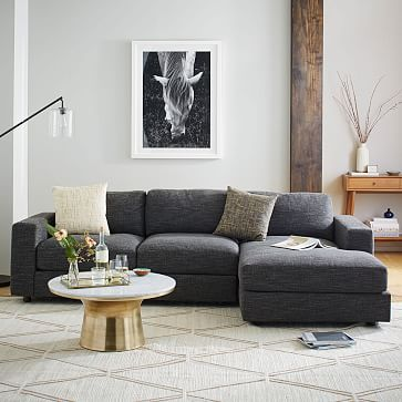 "Urban 2-Piece Chaise Sectional #westelm. $2398 depending on fabric. Looks possible. Depth is 39"", width is 106"". Doesn't list arm height - they may be a bit low for you."
