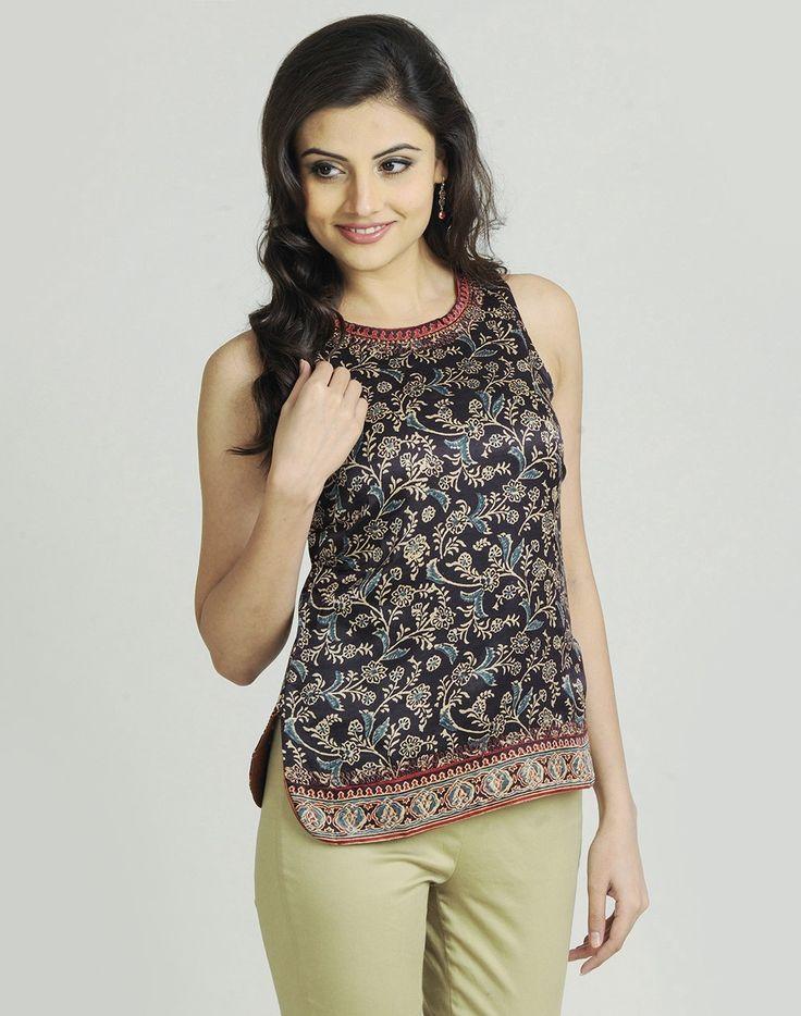 Silk Gajji Printed Embroidered Top