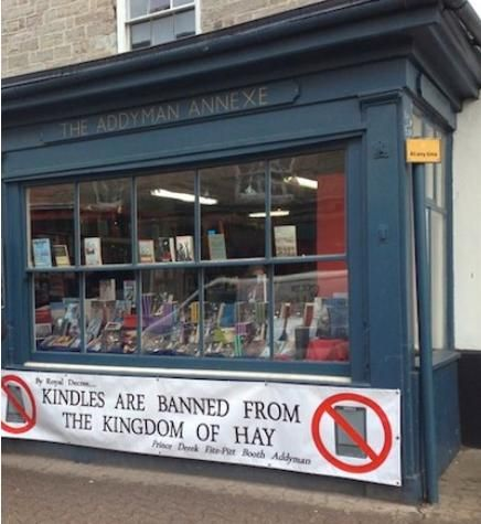 """Hay-on-Wye, Wales, has a population of 1,500 and thirty secondhand bookstores. Since the 1960s, the town has taken in discarded tomes from across the anglophone world, and is known as """"the town of books.""""  Appropriately enough, it's also home to the annual Hay Festival, described by USA Today as """"a geographically remote, bohemian version of the World Economic Forum's Davos event."""" Kindles, needless to say, are frowned upon. (via Paris Review)"""