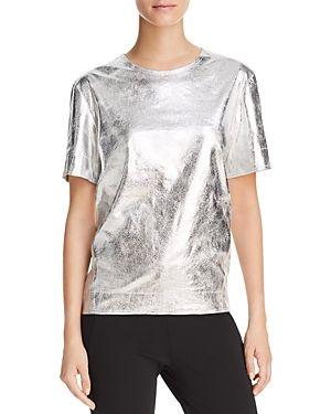 DONNA KARAN METALLIC SHORT SLEEVE TOP. #donnakaran #cloth #