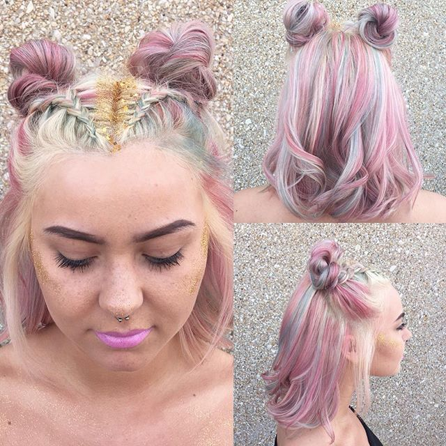 Pink hair, unicorn braids and glitter -- the perfect pastel dream! This unicorn hair was done at Regency Beauty Institute's Artist Showcase by Devin G.