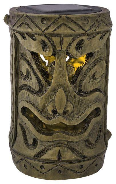 Friki Tiki Smiling Tiki Solar Powered Torch traditional-tiki-torches