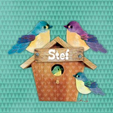 Geboortekaartje Stef - Vrolijk kaartje met vogelhuisje, papa, mama en broertje vogel, leuk voor een tweede kindje - Petit Konijn