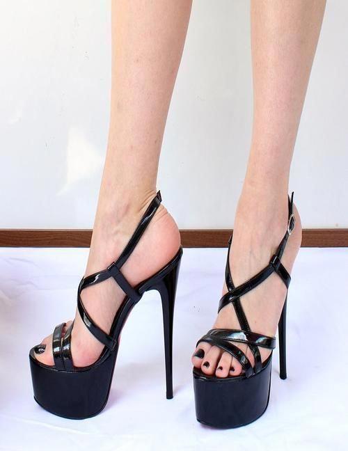ffe701d97c9 Black patent ankle strap peep toe high heel shoes blackhighheels jpg  500x648 Black patent ankle strap
