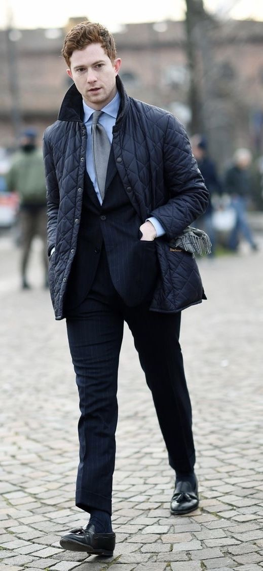 Fall Combo Inspiration With A Navy Quilted Jacket Navy Pinstripe