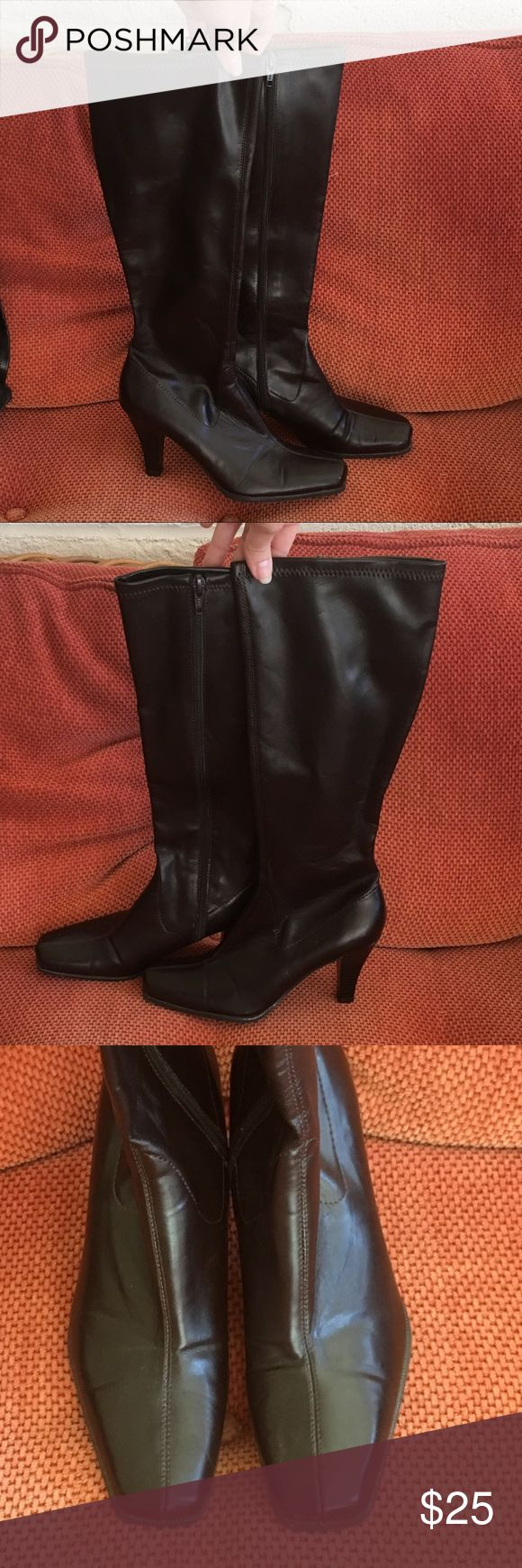 """Dark Brown Tall Heeled Boots (for small calves) Worn maybe once! Dark brown color, hard to capture in the pics. See measurement pic, if you have small calves you know how difficult it can be to find boots...  well you just found them!!! Super cute with a skirt or dress up shorts (with or without tights). I'm 5'5"""" and they hit just below my knee. Merona Shoes Heeled Boots"""